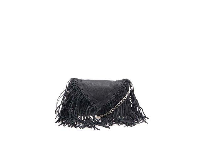 erná kožená kabelka s třásněmi Pieces Anya