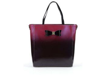 erveno-černá lesklá kabelka s mašlí LYDC