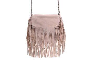 Béžová kožená menší kabelka s třásněmi Pieces Ruthi