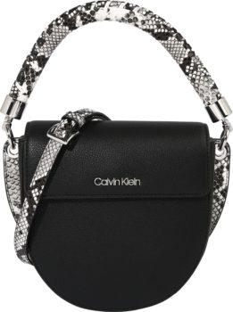 Calvin Klein Kabelka 'SADDLE' černá / bílá / šedá