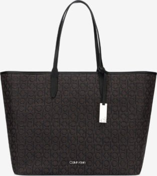 Calvin Klein černo-hnědá kabelka Jacquard Shopper