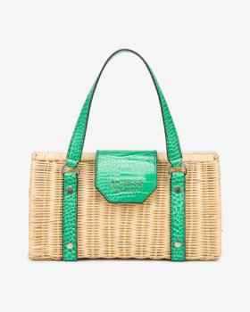 Guess ratanová kabelka Paloma se zelenými detaily