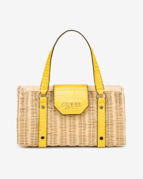 Guess ratanová kabelka Paloma se žlutými detaily