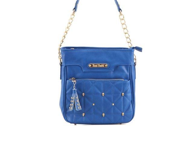 Modrá kabelka Anna Smith se střapcem