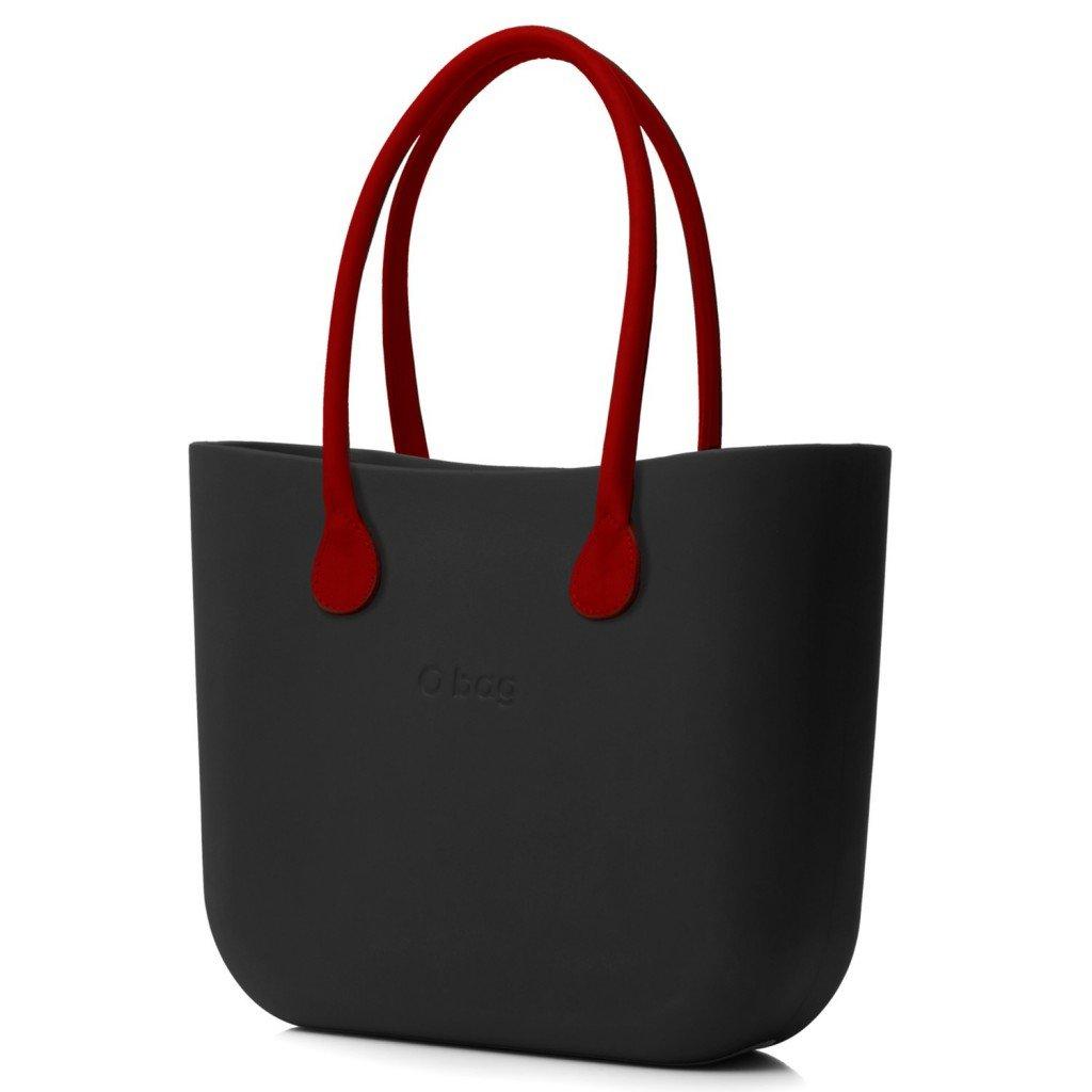 O Bag kabelka černá s držadlem koženka červená