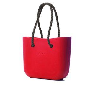 O Bag kabelka červená s černým provazem