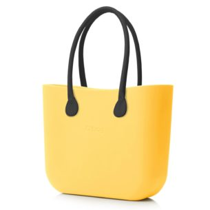 O Bag kabelka žlutá '50 s držadlem koženka černá