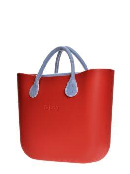 O Bag kabelka mini červená s modrou pruhovanou sadou