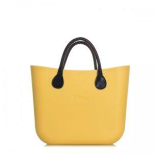 O Bag kabelka mini žlutá '50 s držadlem koženka černá krátké