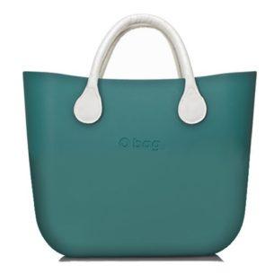 O Bag kabelka mini smaragdová s držadlem koženka bílá krátké