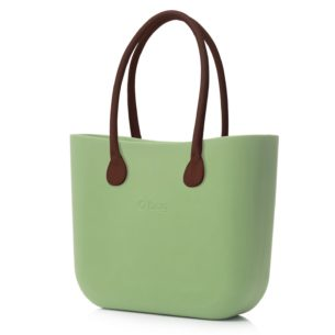 O Bag kabelka pistáciová s držadlem kůže hnědá
