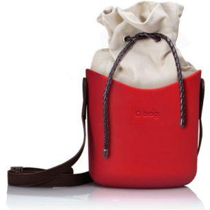 O Basket červená s hnědým popruhem a natural vnitřní taškou