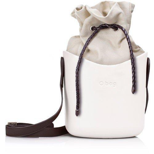 O Basket bílá s hnědým popruhem a natural vnitřní taškou