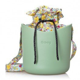 O Basket mentolová se sadou květy šedá