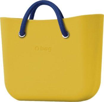 O bag MINI kabelka Ginestra s modrými krátkými lanovými držadly Cobalto