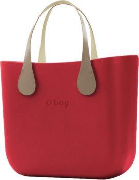 O bag červená kabelka MINI Rosso s krátkými koženkovými držadly Extra Slim Ecru