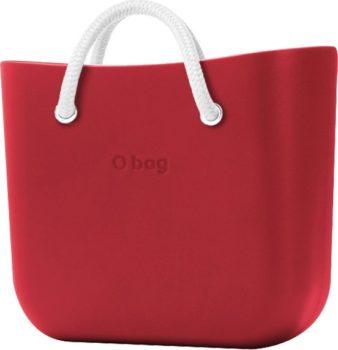 O bag červené kabelka MINI Rosso s bílými krátkými lanovými držadly Latte