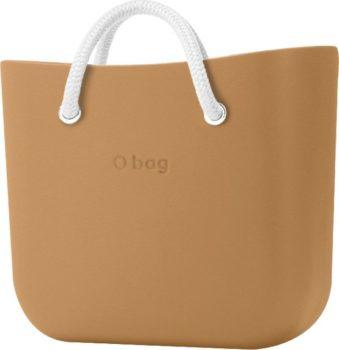 O bag kabelka MINI Biscotto s bílými krátkými lanovými držadly Latte
