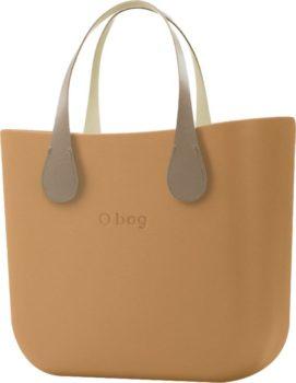 O bag kabelka MINI Biscotto s krátkými koženkovými držadly Extra Slim Ecru