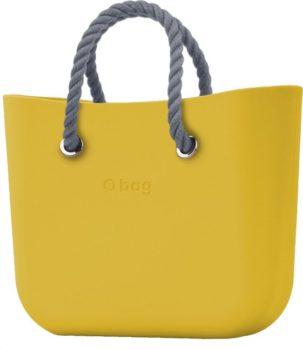 O bag kabelka MINI Ginestra s šedými krátkými provazy