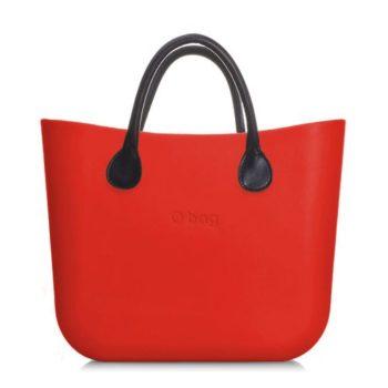 O bag kabelka mini červená s držadlem koženka černá krátká