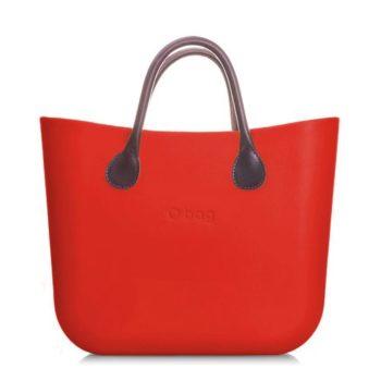 O bag kabelka mini červená s držadlem koženka hnědá krátká