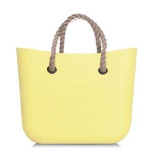 O bag kabelka mini žlutá s krátkým provazem natural