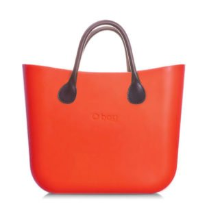 O bag kabelka mini oranžová s držadlem koženka hnědá krátká