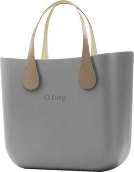 O bag šedé kabelka MINI Grigio Chairo s krátkými koženkovými držadly Extra Slim Ecru