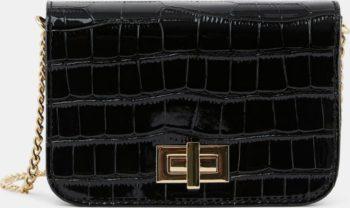 Pieces černá crossbody kabelka s hadím vzorem