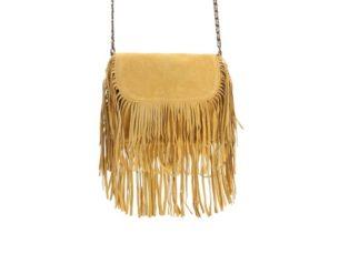Tmavě žlutá kožená menší kabelka s třásněmi Pieces Ruthi