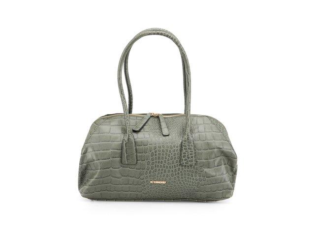 Zelená podlouhlá kabelka Victoria Delef v imitaci kůže